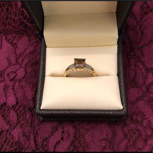 Vintage Smoky quartz & Diamond Ring